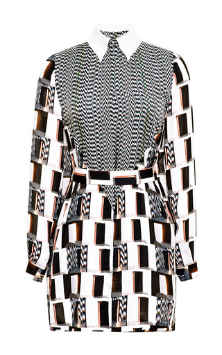 Medium kenzo black belted shirtdress in white noise silk twill