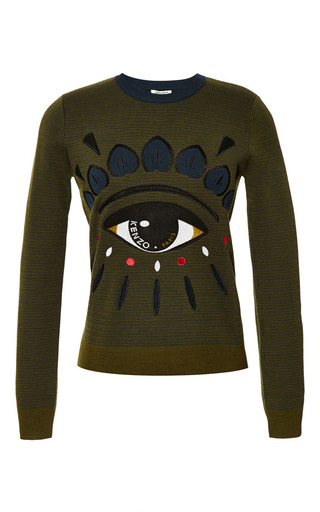 Medium kenzo brown eye sweater in dark khaki