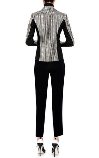 Rib Knit Inset Jacquard Blazer by KENZO Now Available on Moda Operandi