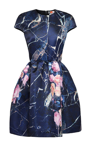 Medium msgm blue cap sleeve printed satin duchess dress
