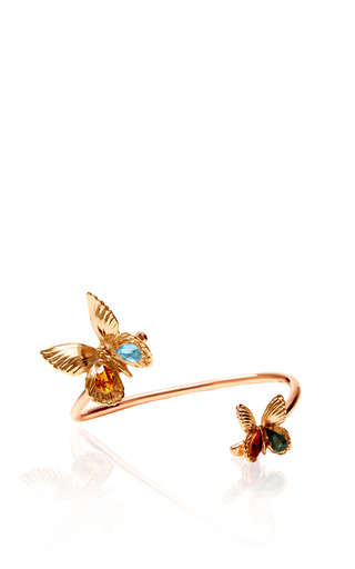 Medium rodarte gold gold butterfly bracelet with swarovski crystals