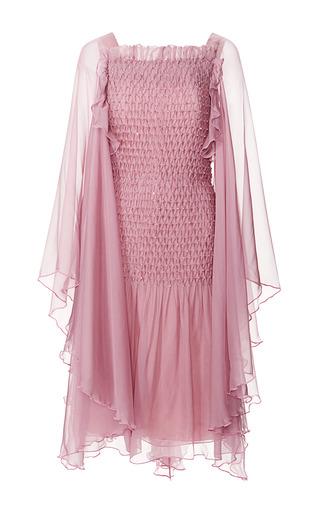 Medium rodarte purple plum silk chiffon hand smocked dress with swarovski crystals