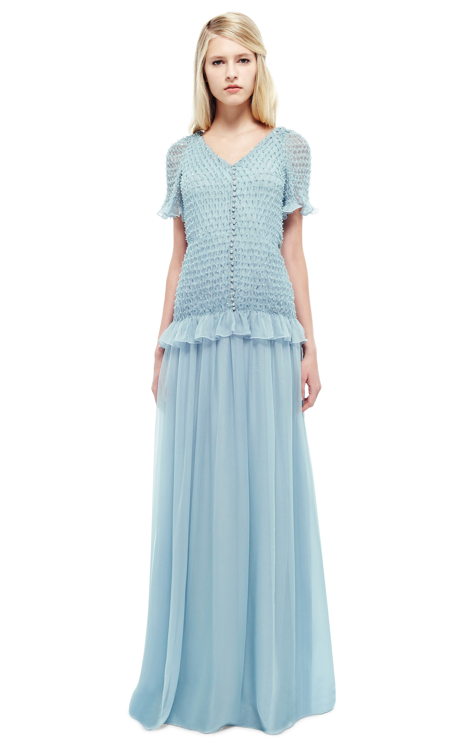 Dusty Blue Hand-Smocked Chiffon Gown With Swarovski Crystals by ...