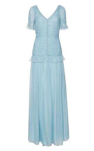 Medium rodarte blue dusty blue hand smocked chiffon gown with swarovski crystals