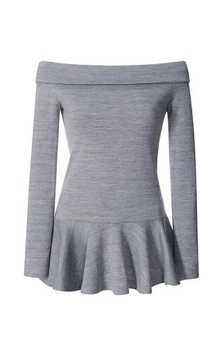 Medium rodarte dark grey grey wool jersey off shoulder tunic