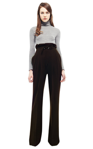 Brown Wool Jersey Drawstring Pants by RODARTE for Preorder on Moda Operandi