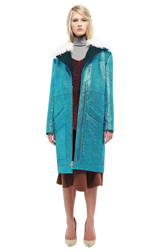 Teal Glitter Coat With Shearling Trim by RODARTE for Preorder on Moda Operandi