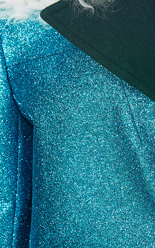 Teal Glitter Coat With Shearling Trim by RODARTE for Preorder on Moda Operandi