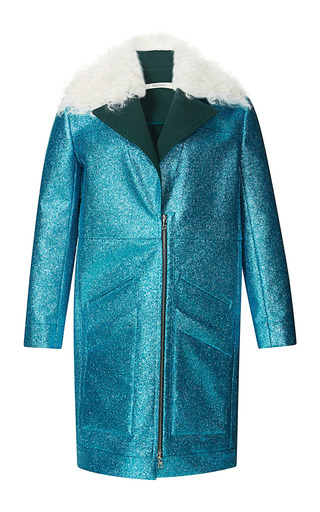 Medium rodarte blue teal glitter coat with shearling trim