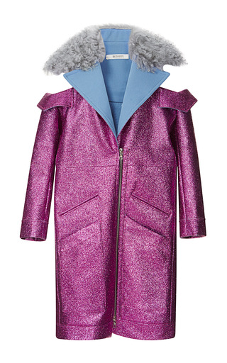 Medium rodarte fuchsia fuchsia glitter coat with shearling trim
