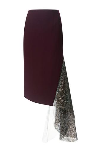 Medium rodarte burgundy wool crepe and metallic glitter tulle skirt