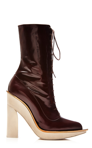 Medium delpozo brown high heel shoe lace boot