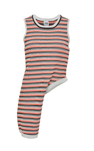 Medium opening ceremony pink microcable stripe side drape top