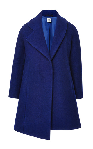 Medium opening ceremony blue cobalt bonded wool amorphic front coat