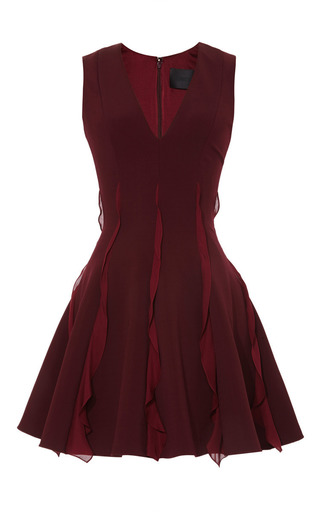 Medium cushnie et ochs burgundy oscar jersey with georgette ruffle