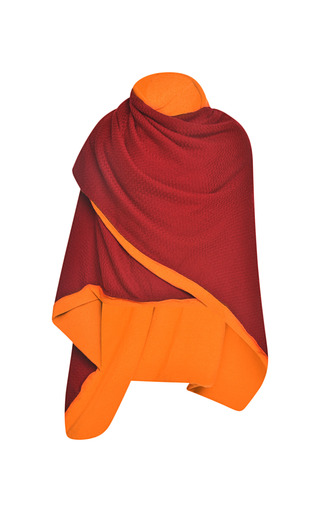 Bordeaux And Cantaloupe Cashmere Double Layer Shawl by PRABAL GURUNG for Preorder on Moda Operandi