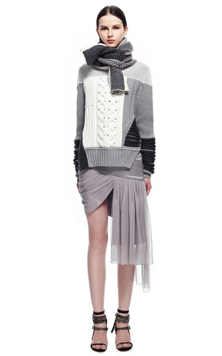 Midnight Ivory Jacquard Intarsia Scarf by PRABAL GURUNG for Preorder on Moda Operandi