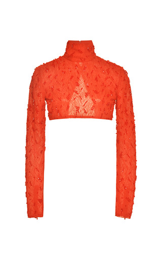 Medium prabal gurung red crimson chiffon turtleneck with swarovski embroidery