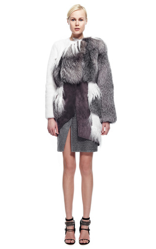 Asymmetric Mixed Fur Coat by PRABAL GURUNG for Preorder on Moda Operandi