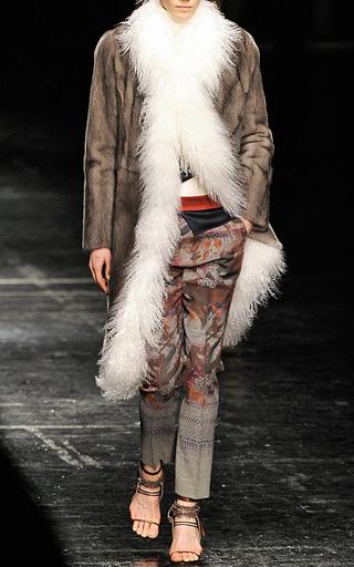 Asymmetric Mink Coat With Mongolian Lamb by PRABAL GURUNG for Preorder on Moda Operandi