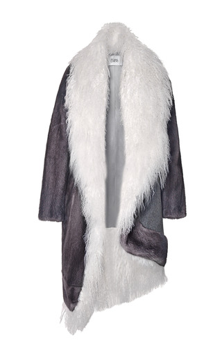 Medium prabal gurung ivory asymmetric mink coat with mongolian lamb