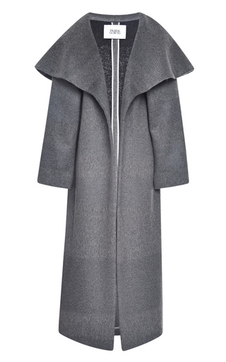 Medium prabal gurung dark grey shadow stripe wool opera coat