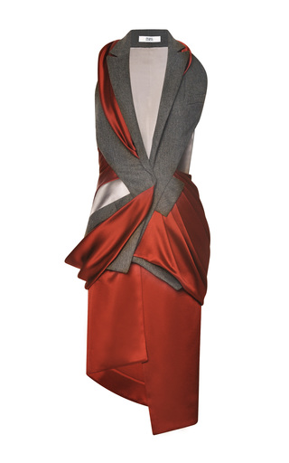 Medium prabal gurung dark grey draped sleeveless tuxedo dress