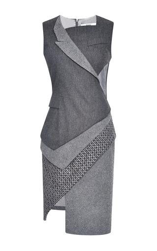 Medium prabal gurung dark grey wool flannel stretch asymmetric tuxedo dress
