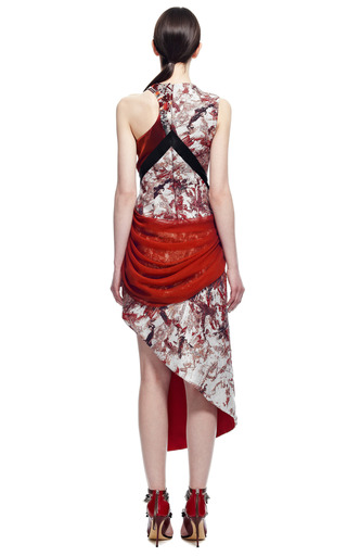 Embroidered Paint Stained Jacquard Asymmetric Dress by PRABAL GURUNG for Preorder on Moda Operandi