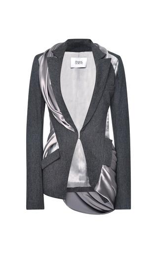 Medium prabal gurung dark grey wool flannel jacket with draped satin inserts