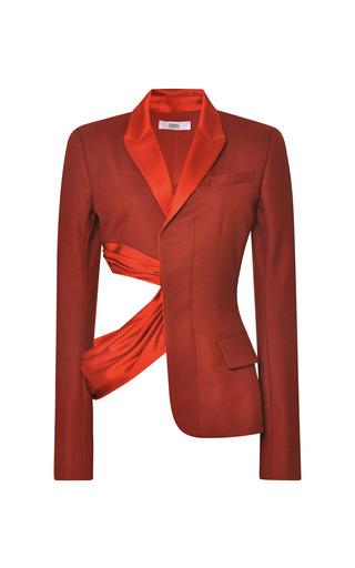 Medium prabal gurung red bordeaux flannel deconstructed suit jacket