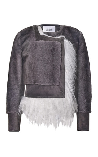 Medium prabal gurung dark grey mink and mongolian lamb boxy jacket