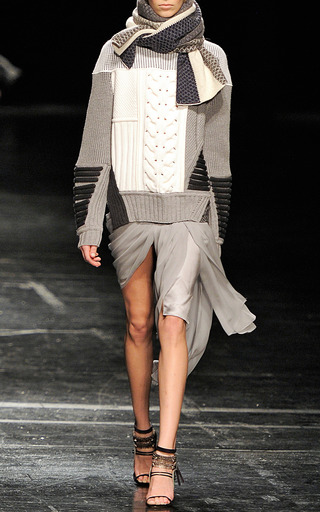 Platinum Draped Mini Skirt With Asymmetrical Train by PRABAL GURUNG for Preorder on Moda Operandi