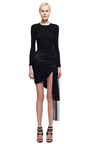 Midnight Draped Mini Skirt With Asymmetrical Train by PRABAL GURUNG for Preorder on Moda Operandi