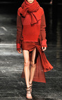 Red Draped Mini Skirt With Asymmetrical Train by PRABAL GURUNG for Preorder on Moda Operandi