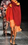 Cantaloupe Draped Mini Skirt With Asymmetrical Train by PRABAL GURUNG for Preorder on Moda Operandi