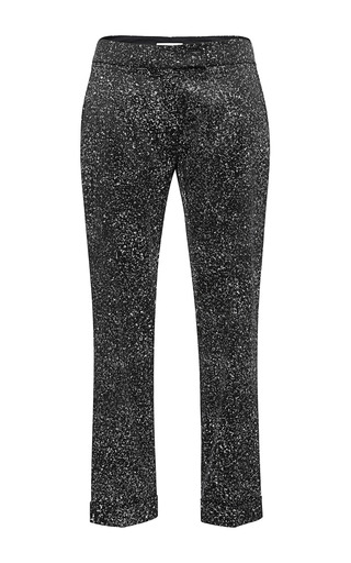 Medium antonio berardi black black and white speckled trousers 2