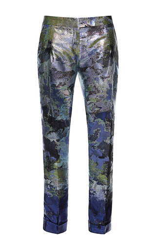 Medium antonio berardi multi inky blue iridescent brocade cigarette trousers 2