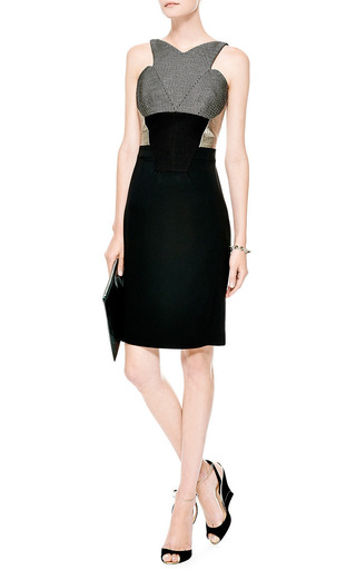 Stretch Crepe And Metallic Jacquard Dress by ANTONIO BERARDI Now Available on Moda Operandi