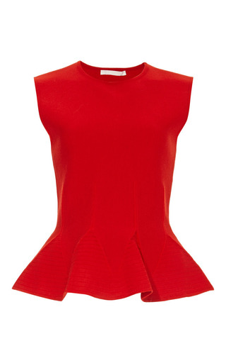 Medium antonio berardi red sleevless peplum top