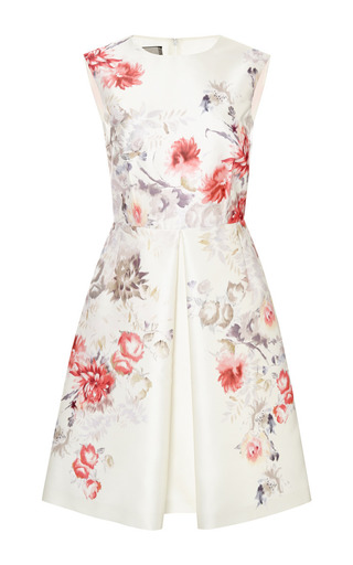 Medium giambattista valli white printed dress with a pleat in the front