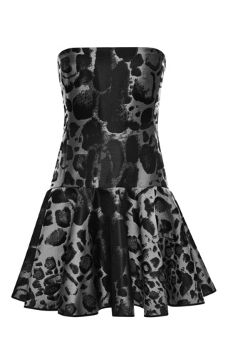 Medium giambattista valli dark grey leopard jacquard strapless dress