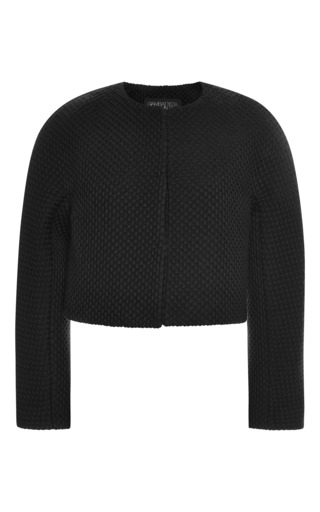 Medium giambattista valli black cropped collarless jacket