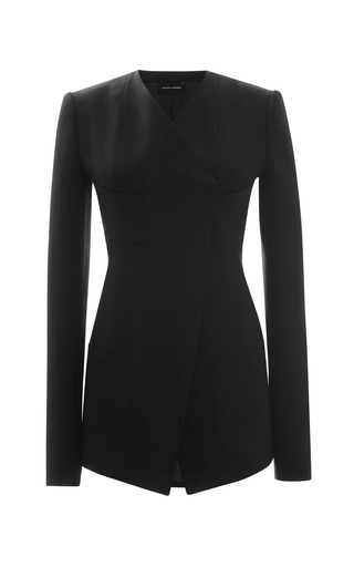 Medium narciso rodriguez black stiff wool twill jacket