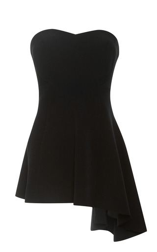 Medium derek lam black strapless crepe faille asymmetric tunic