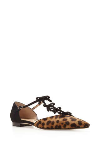 Evelyn Printed Calf Hair And Suede Mary Jane Flats by OSCAR DE LA RENTA Now Available on Moda Operandi