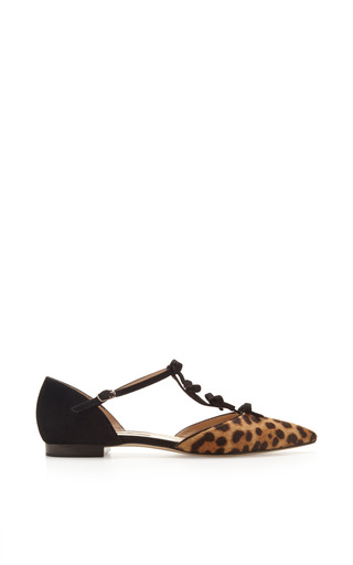 Medium oscar de la renta brown evelyn ponyskin and suede mary jane flats