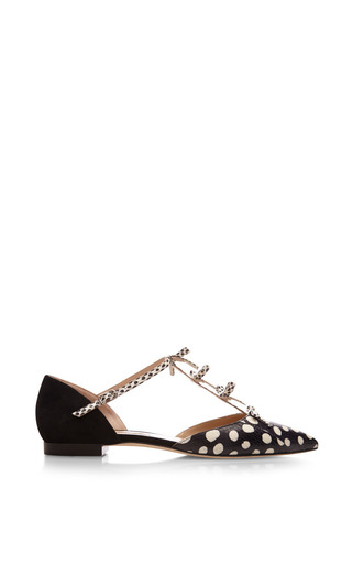 Medium oscar de la renta black polka dots evelyn flat