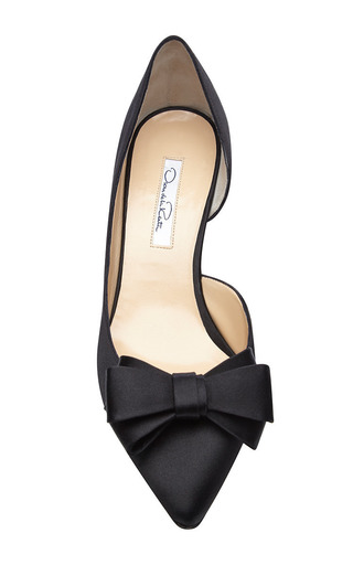 Marla Bow Detail Satin Pumps by OSCAR DE LA RENTA Now Available on Moda Operandi