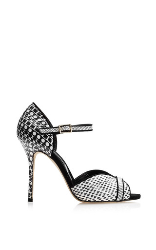 Medium oscar de la renta black multi christina pump
